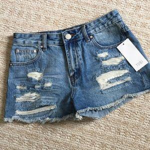 NWT Tobi distressed cut off jean shorts sz 26